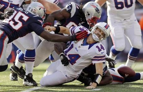 Bills quarterback Ryan Fitzpatrick was sacked during the first quarter.